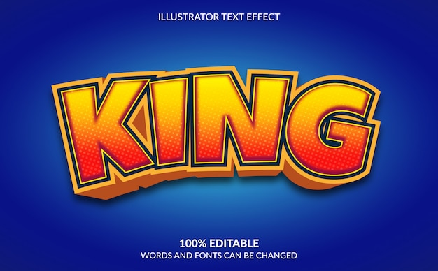 Editable text effect,  king comic text style
