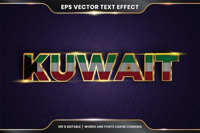 Effetto di testo modificabile - kuwait con la sua bandiera nazionale