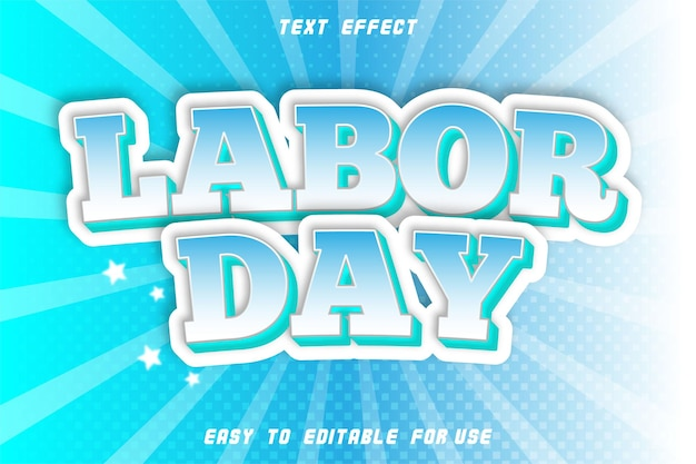 Editable text effect labor day cyan