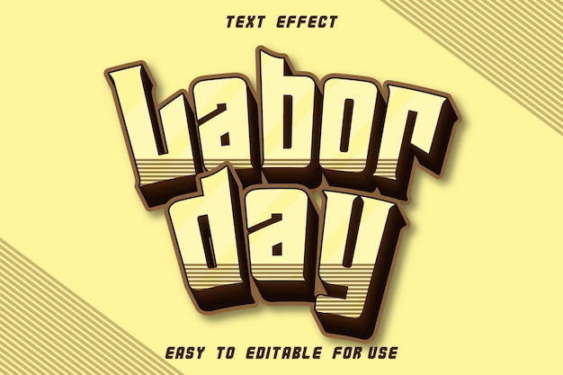 Editable text effect labor day vintage