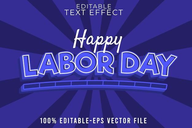 Editable text effect labor day with classic blue style