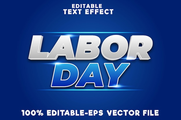 Editable text effect labor day with labor day modern style