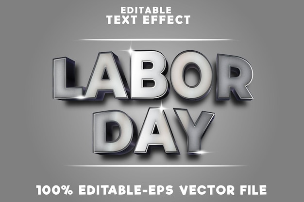 Editable text effect labor day with metallic luxury style