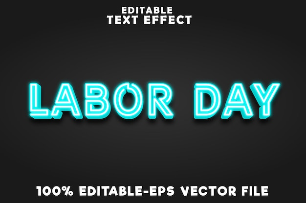 Editable text effect labor day with new neon blue style