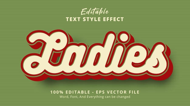 Editable text effect, ladies text on vintage color style effect