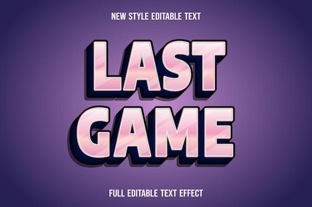 Редактируемый текстовый эффект последней игры цвета розовый и темно-синий