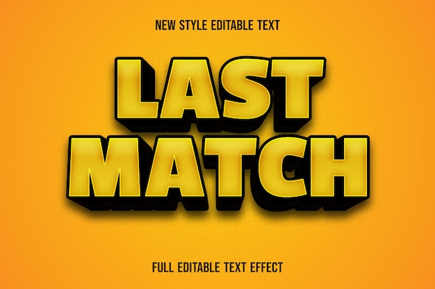 Editable text effect last match color yellow and black