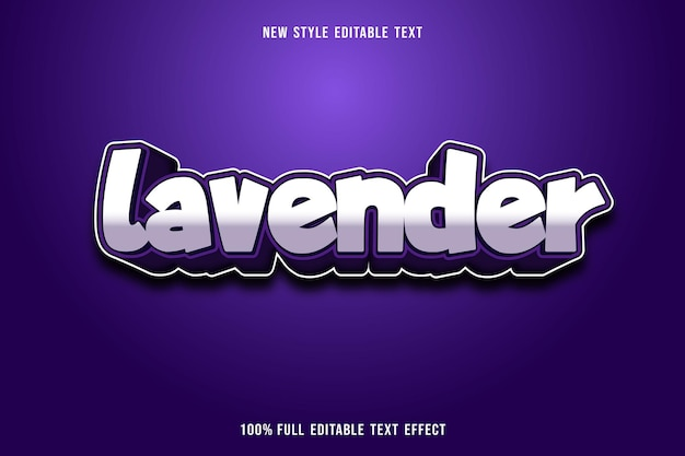Editable text effect lavender color white and purple