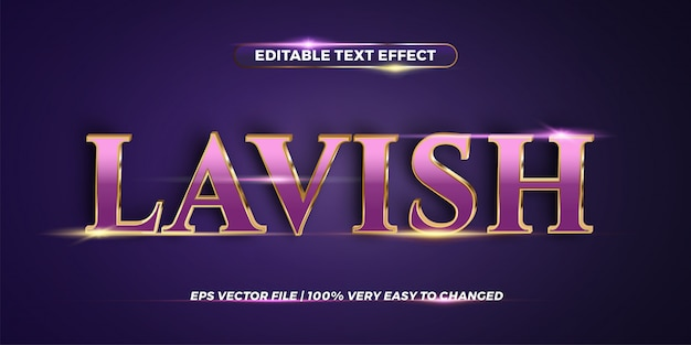 Editable text effect - lavish word style  concept