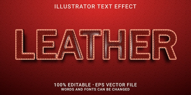 Редактируемый текстовый эффект - кожаный стиль