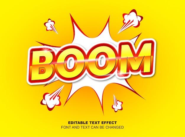 編集可能なテキスト効果、ベクターデザインの黄色と赤の色による文字ブーム