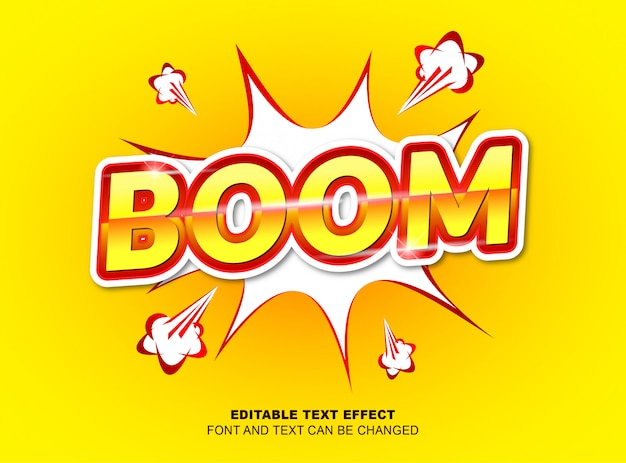Editable text effect, letter boom by yellow and red color, with vector design