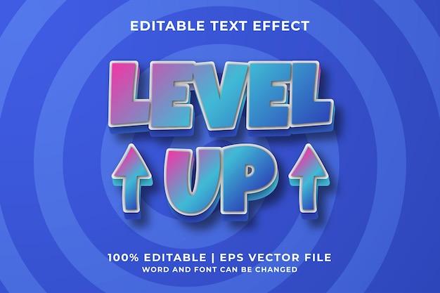 Редактируемый текстовый эффект - стиль шаблона level up cartoon премиум векторы