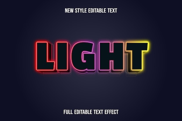 Editable text effect light color black yellow red and purple