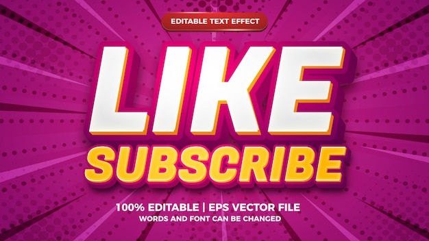 Editable text effect - like and subscribe 3d template style on halftone background