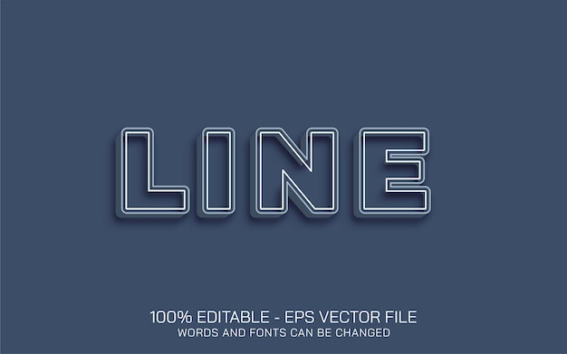 Editable text effect, line style illustrations
