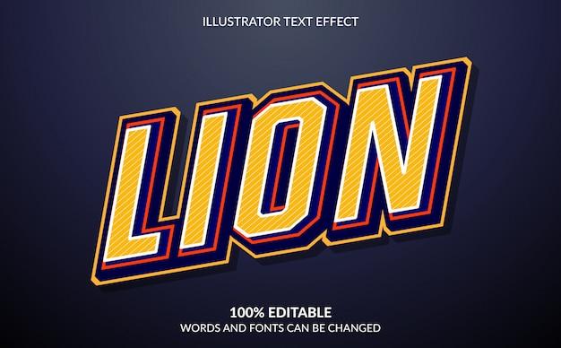 Редактируемый текстовый эффект, стиль текста lion esport