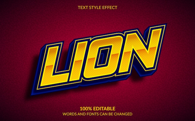 Editable text effect, lion esports, gaming squad text style