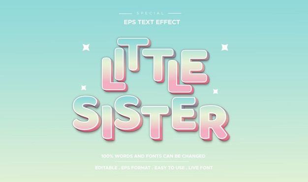 Editable text effect little sister style