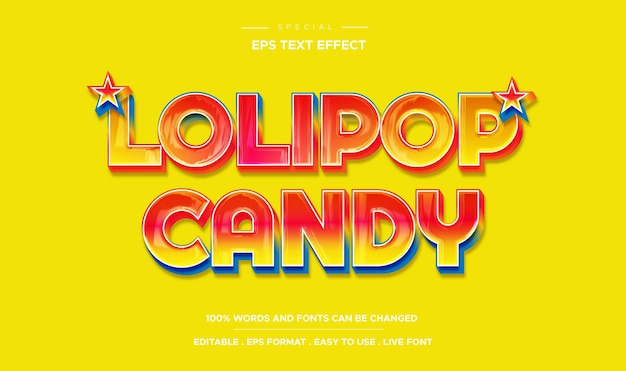 Editable text effect lolipop candy style