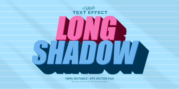 Editable text effect, long shadow text