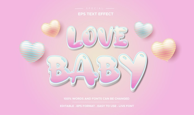 Editable text effect love baby style