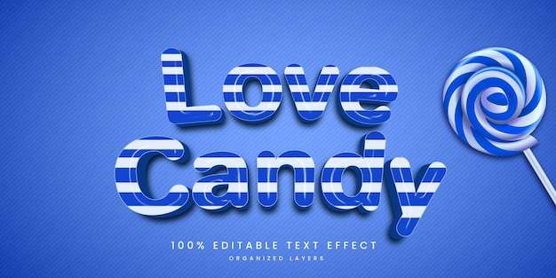 Editable text effect in love candy style premium Premium Vector