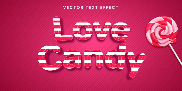 Editable text effect in love candy style Premium Vector