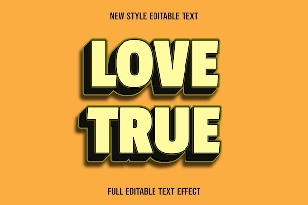 Editable text effect love true color yellow and black Premium Vector