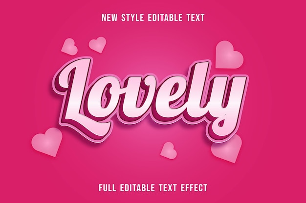 Editable text effect lovely color white and pink