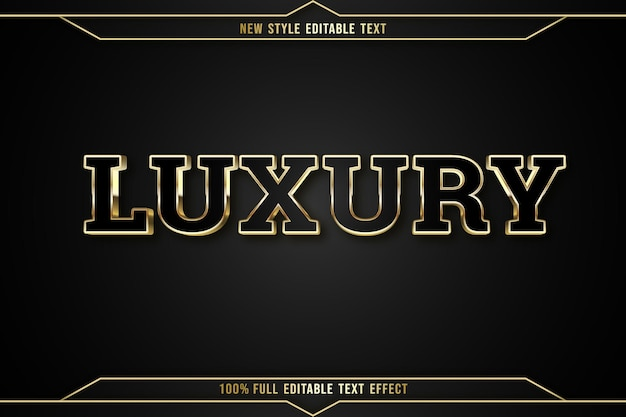 Editable text effect luxury color black and gold