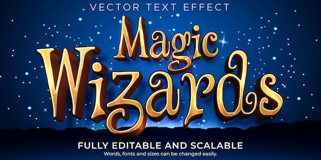 Editable text effect, magic wizard text style