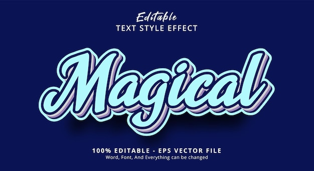 Editable text effect, magical text on popular blue color combination