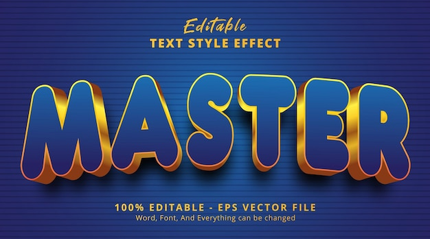 Editable text effect, master text on headline event style