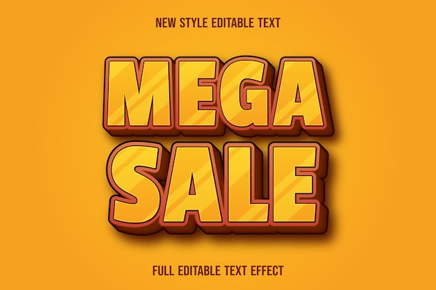 Editable text effect mega sale color yellow and brown