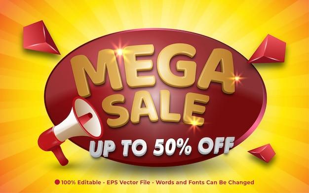 Editable text effect, mega sale with megaphone 3d style illustrations