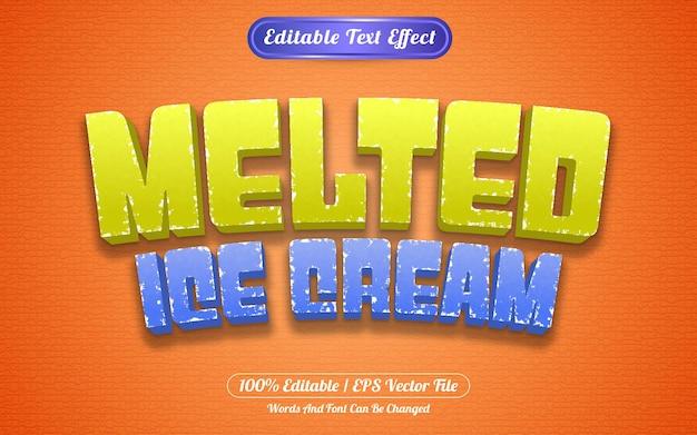 Редактируемый текстовый эффект растопленного мороженого в стиле шаблона