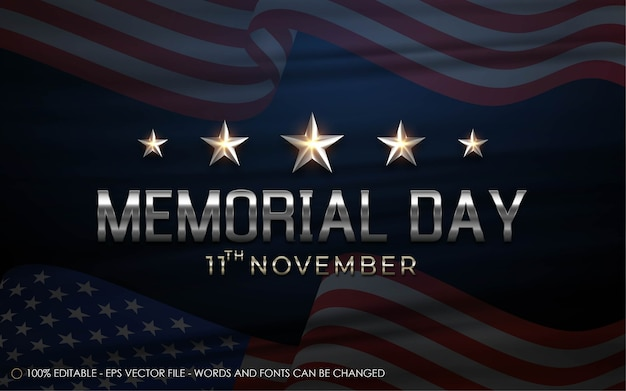 Editable text effect, memorial day style illustrations