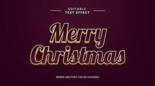 Editable text effect merry christmas elegant style and elegant color gold