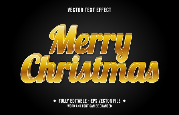 Editable text effect merry christmas gradient gold style