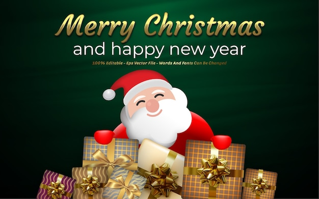 Editable text effect, merry christmas and happy new year style illustrations
