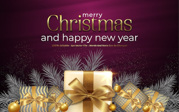 Editable text effect, merry christmas style illustrations