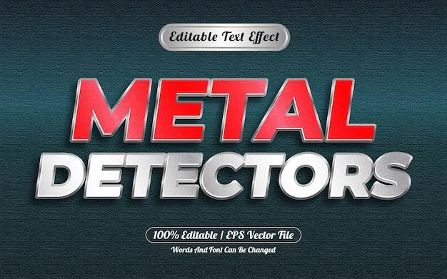 Редактируемый текстовый эффект металлоискателей в стиле серебристый