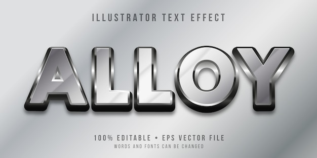 Editable text effect - metal style