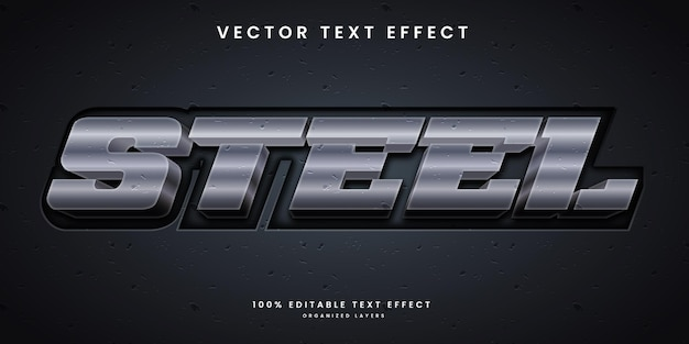 Editable text effect in metalic silver color and texture style premium vector