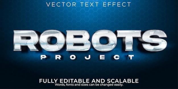 Редактируемый текстовый эффект, металлический стиль текста робота