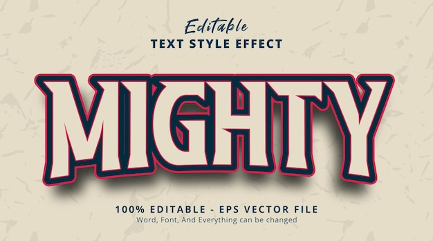 Editable text effect, mighty text on headline gaming style effect
