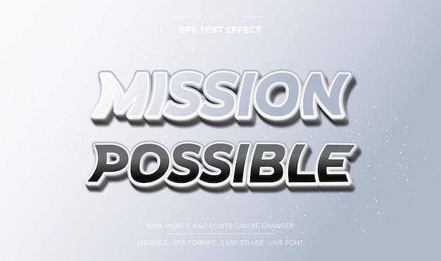Editable text effect mission possible style