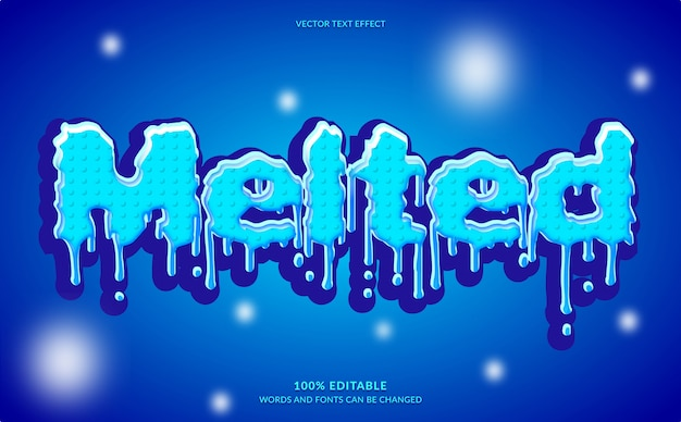 Editable text effect, modern blue melted text style