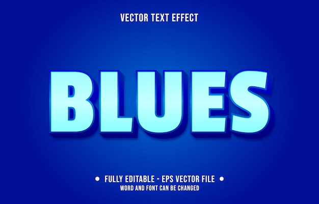Editable text effect modern blue style